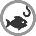 Fish and hook icon - angling