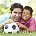 Circular Walk 11: Father and son with football at Cator Park