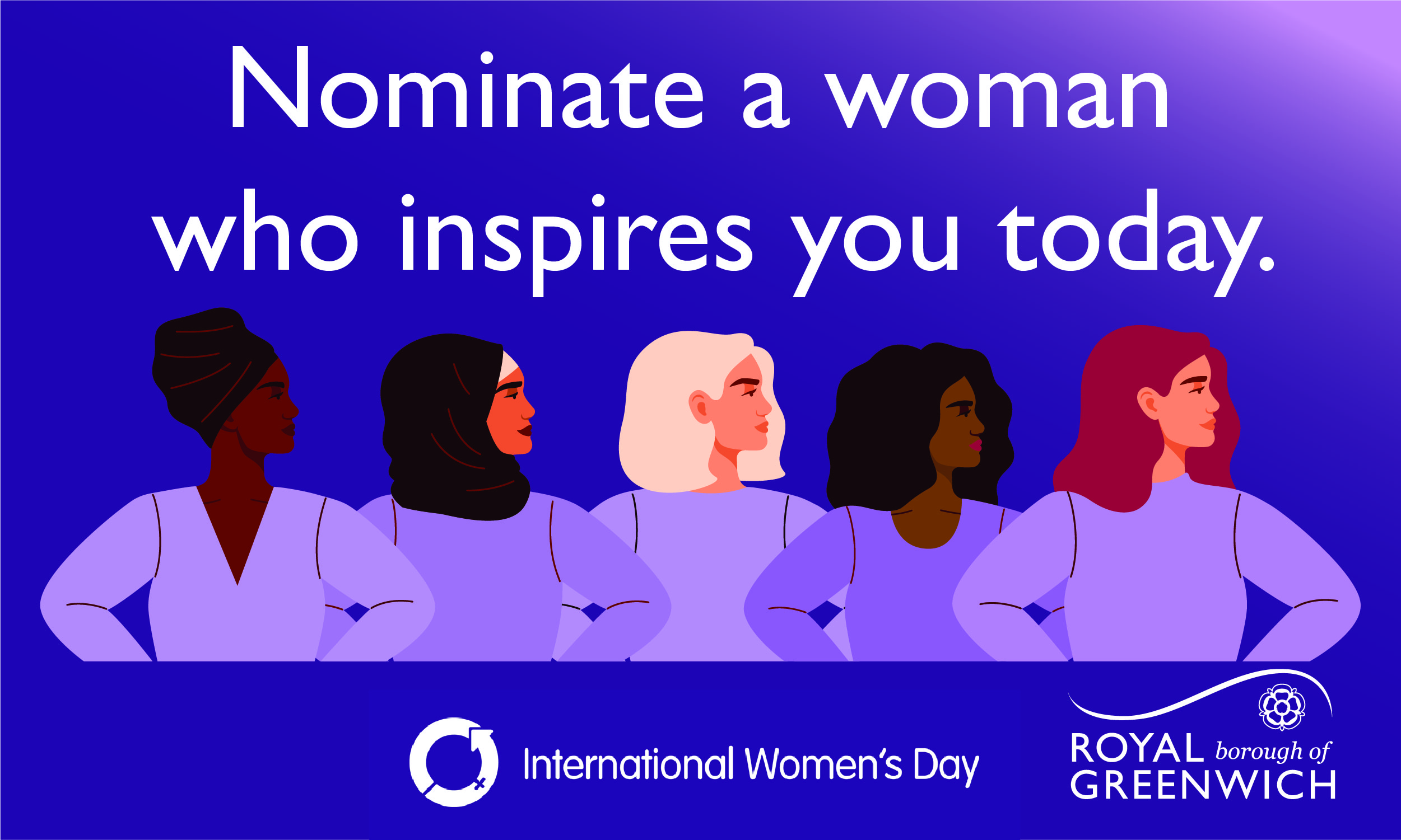 Illustration of five different women with their hands on their hips. Test reads Nominate a woman who inspires your today.