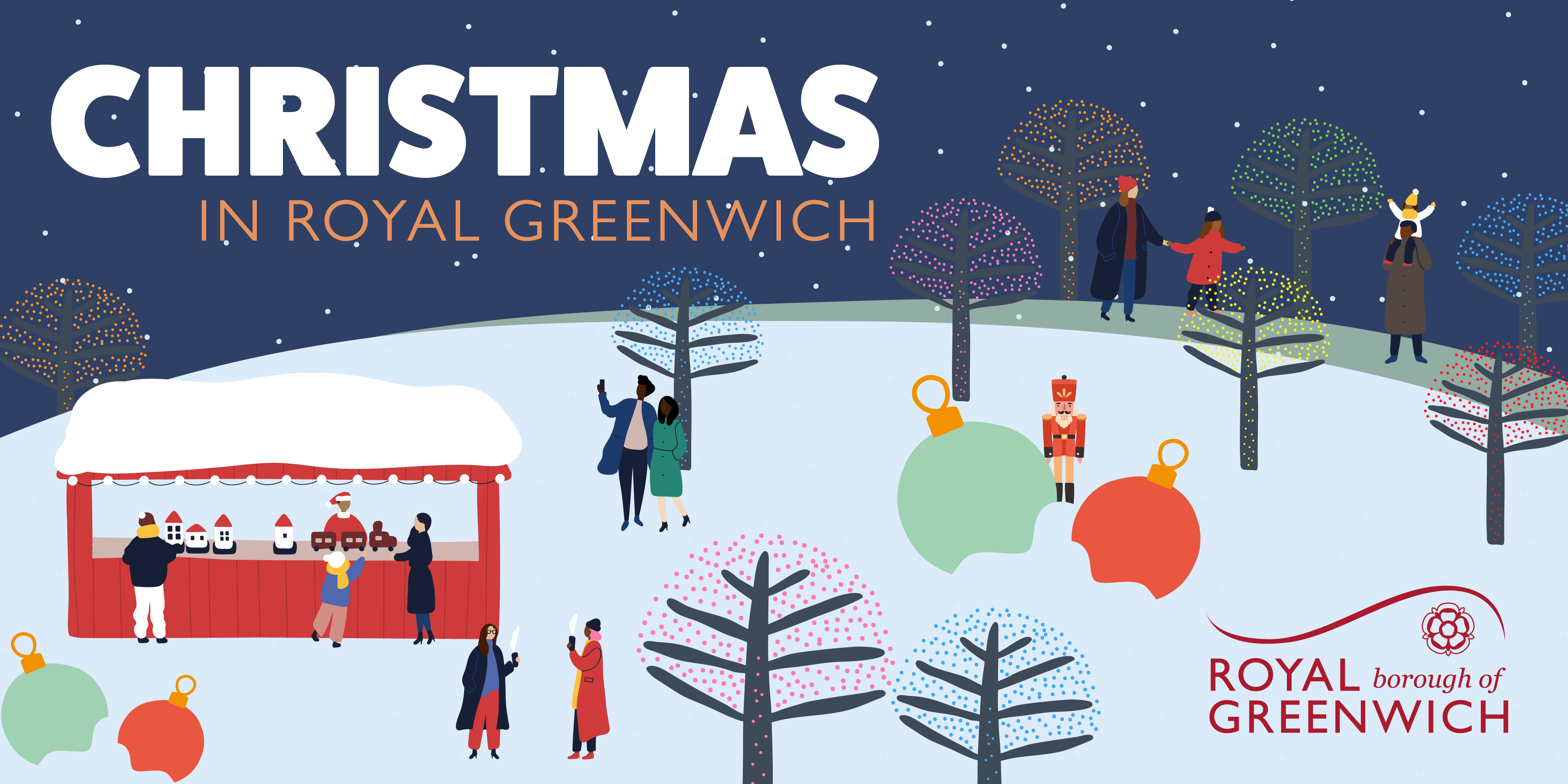 Christmas in Royal Greenwich with illustrations of people in the snow.