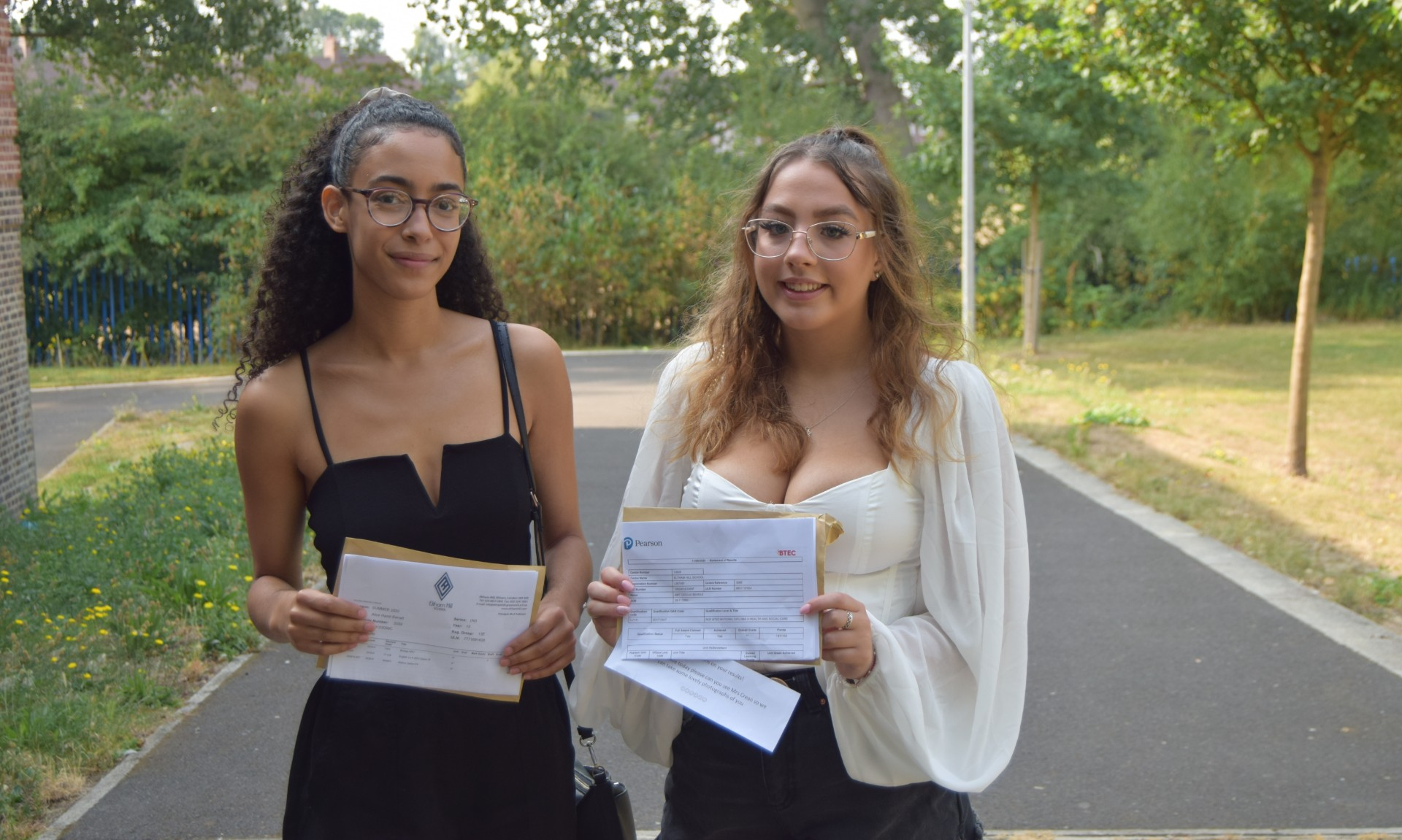 Any and Alice receiving their A Level results at Eltham Hill