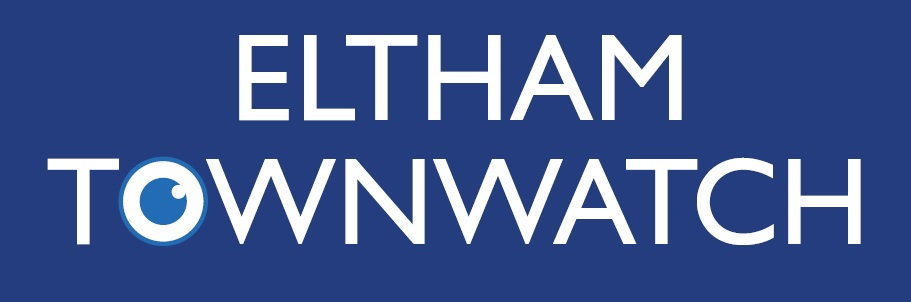 Eltham Townwatch logo, Eltham Townwatch is written in white letters against a blue background.