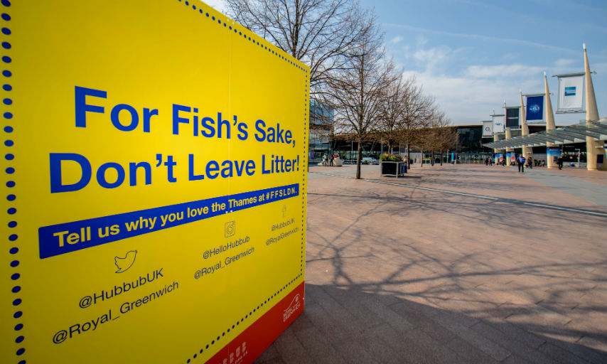 Picture of For Fishes Sake Poster Cube beside o2 Arena.
