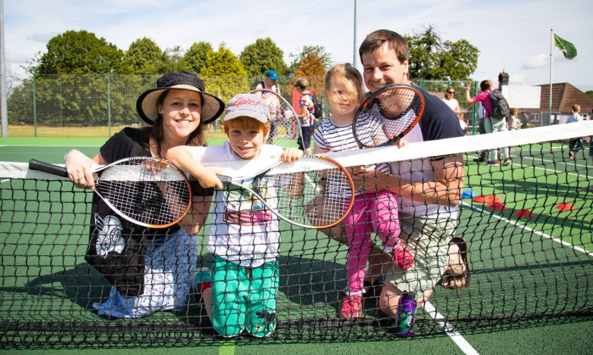 Family at eltham south tennis court