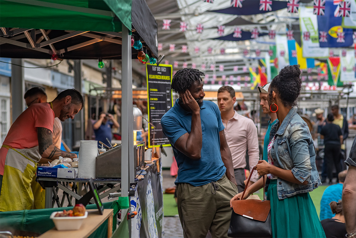 People shopping at the Global food court Greenwich