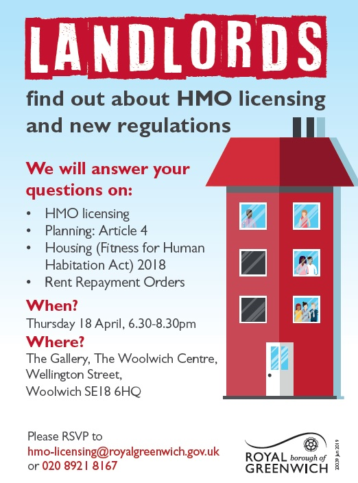 Event flyer with details of the HMO licensing event taking place on 18 April 2019.
