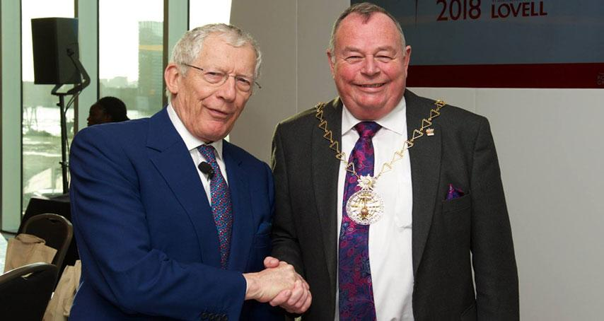 Nick Hewer and Mayor Peter Brooks at the Business Awards