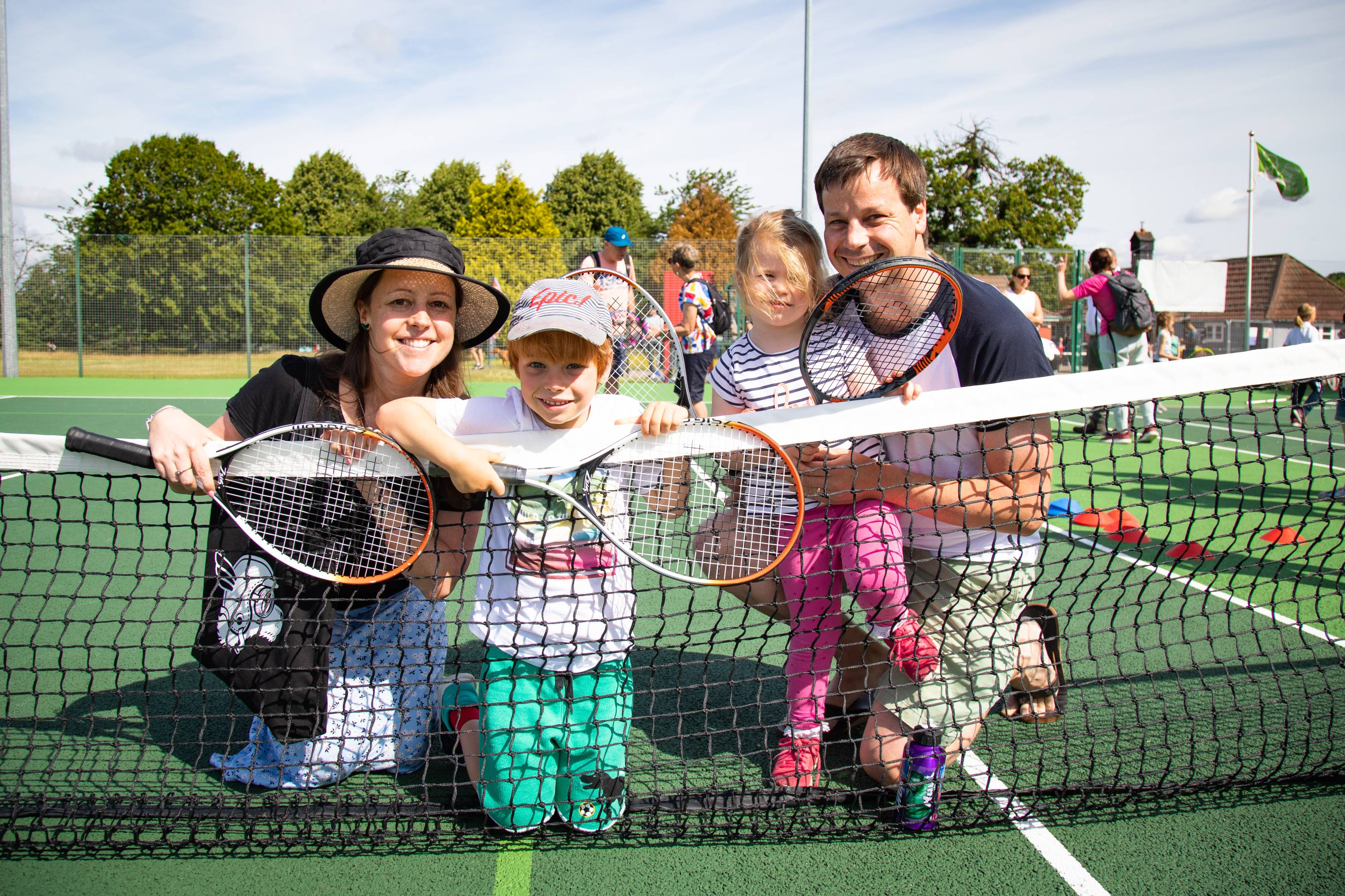 Local family enjoying Eltham Park South new tennis courts