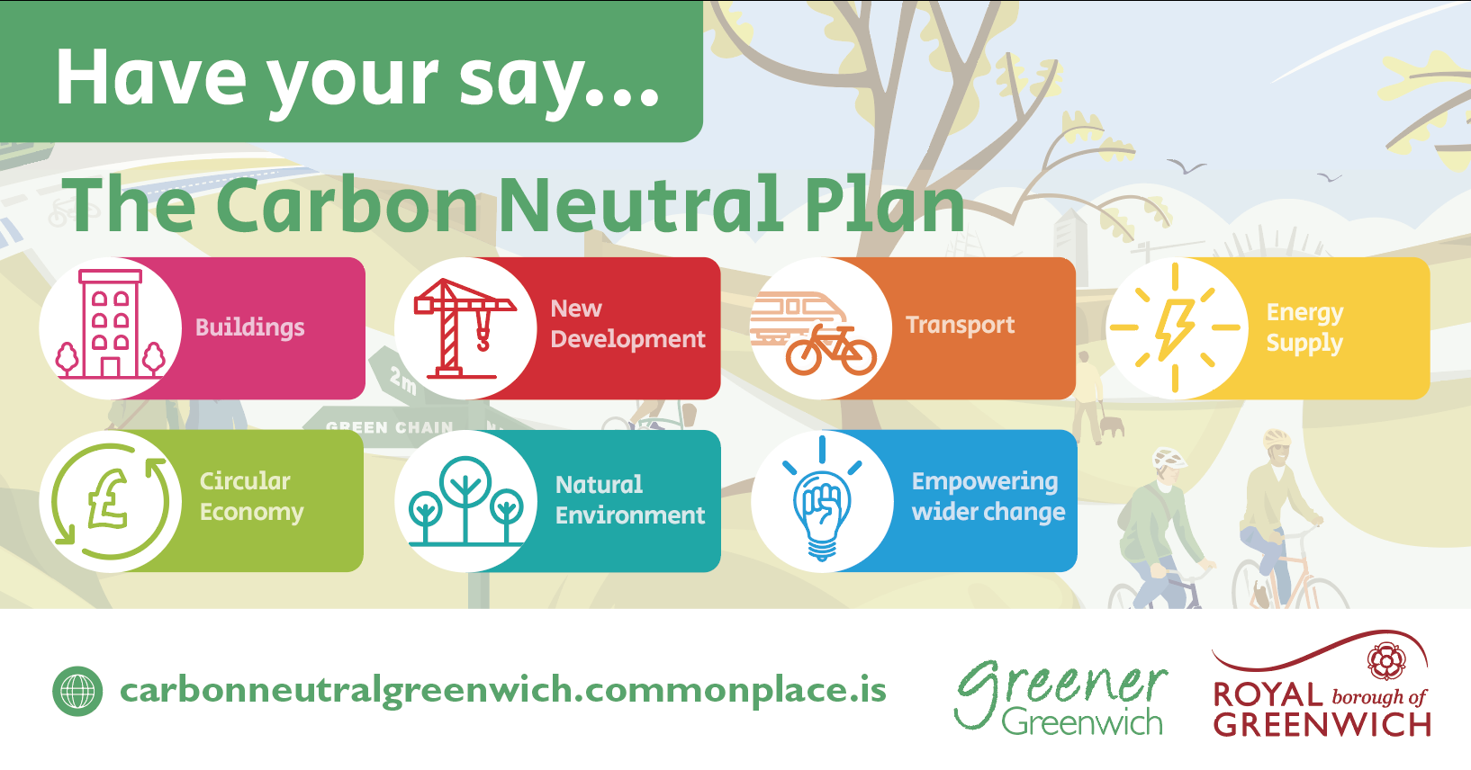 Graphic with text saying Have your say... The Carbon Neutral Plan