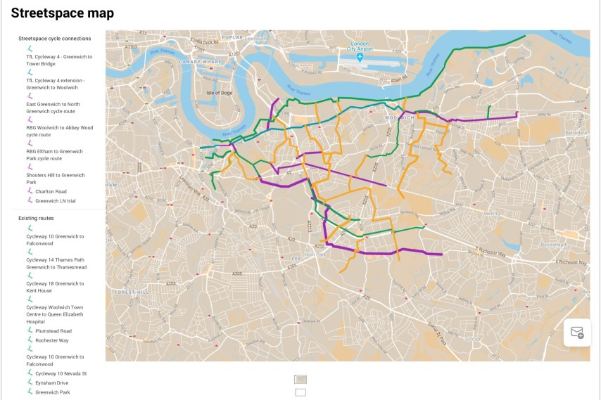 Streetspace Strategic Cycle Routes map