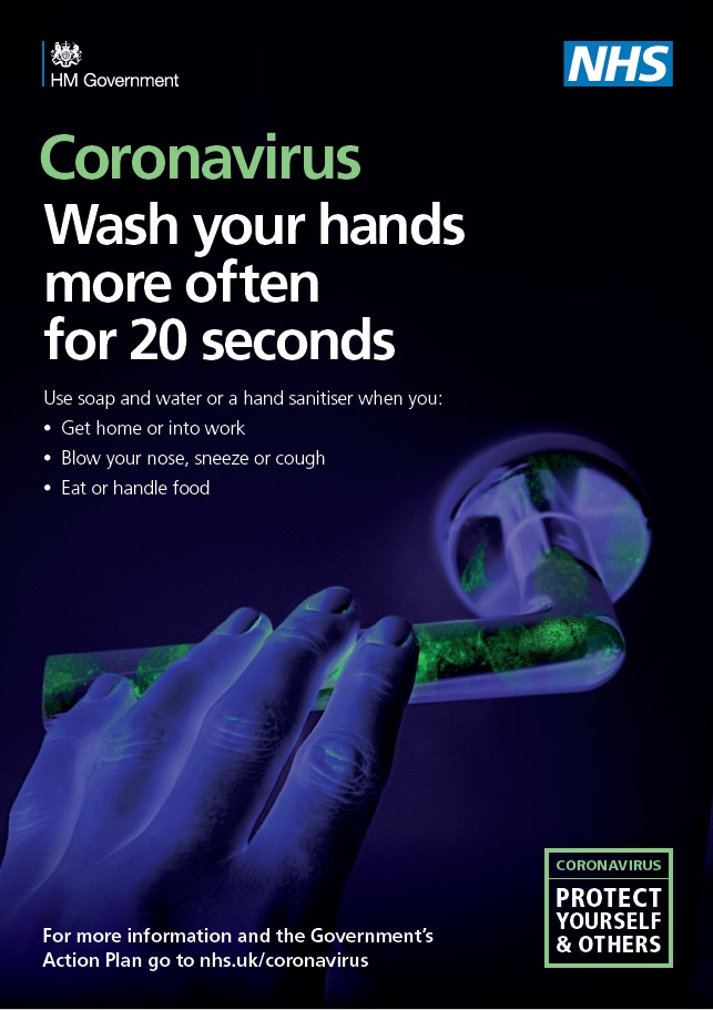 PHE poster wash your hands more often for 20 seconds