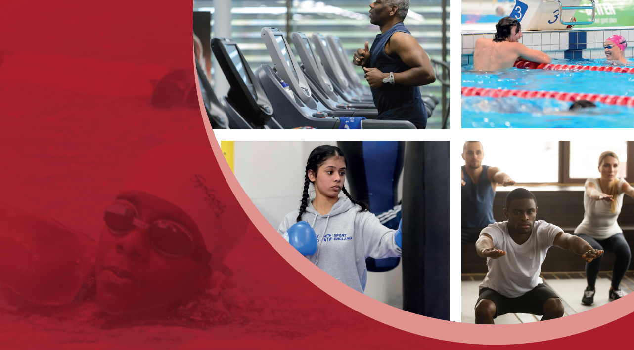 Images of sport including running machine, swimming, boxing and a fitness class.