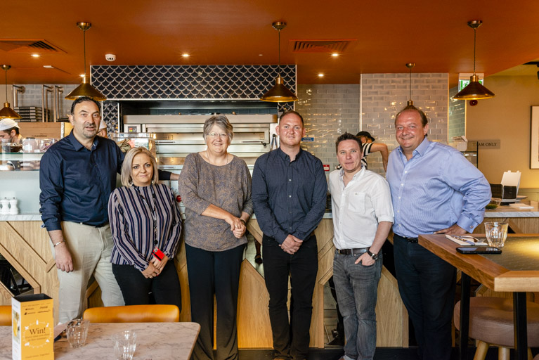 Cllr Denise Hyland and Cllr Danny Thorpe open Pizza Express in Eltham