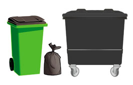 Black-lidded bins and black sacks used for the Black non-recyclable collection service