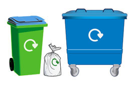 Bins and sacks used for the Blue - mixed dry recycling - collection service