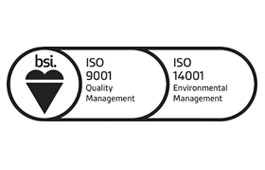 British Standards Institute ISO 9001 and ISO 14001 logo