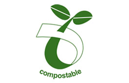 Compostable sign indicating that corn starch or paper bags or liners are suitable for food and garden waste to be composted