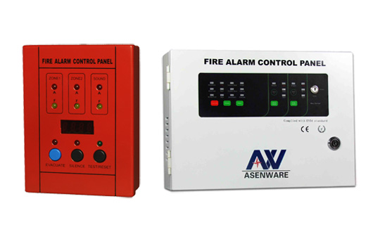 Examples of fire alarm control panels