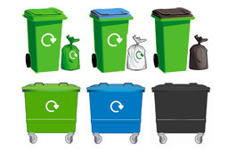 Recycling and waste wheeled bins, sacks and communal bins (green, blue and black)