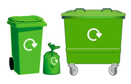 Bins and sacks used for the Green food and garden waste recycling service