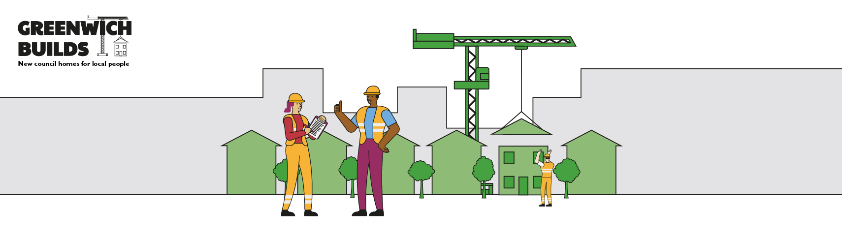 Illustration of a Greenwich Builds construction site