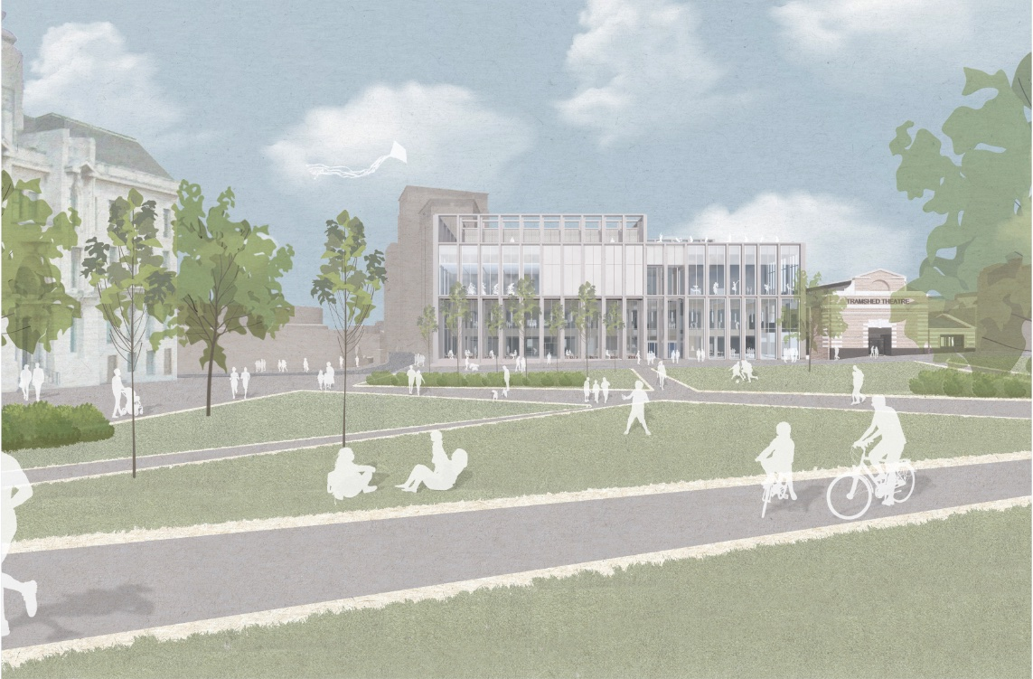 Artist impression of view of new leisure centre from General Gordon Square