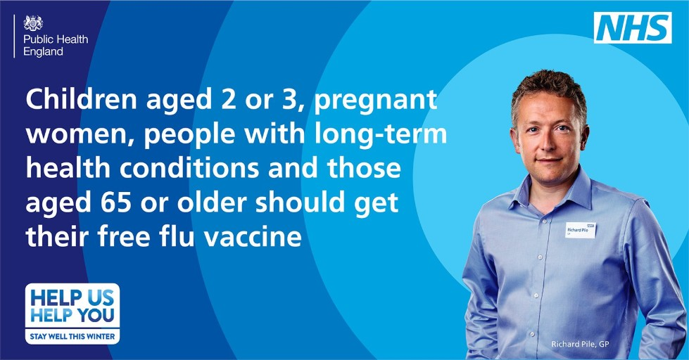 NHS Flu Jab Poster: Children ages 2 or 3, pregnant women, people with long-term health conditions and those ages 65 or older should get their free flu vaccine.